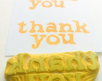 thank you hand carved rubber stamp, handmade rubber stamp
