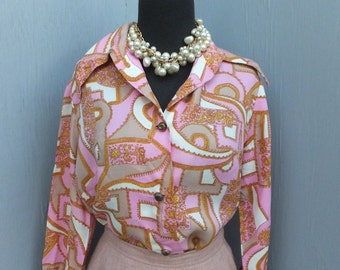 Vintage 50s/60s MODE O DAY Blouse, Pink Graphic Career, Secretary, School Blouse, Large, 40 bust or 101 cm