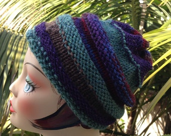 Knit Beanie Blue Purple Green Ski Hat