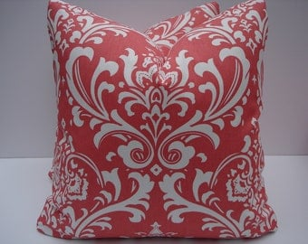 Damask Pillow Covers Coral and White Pillows One Pair 18 x 18 Handmade Decorative Throw Pillows Toss Pillows Accent Pillows Accent Pillows