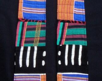 Reversible Modern Clergy Stole Blue African Fabric Blue Liberian Batik Fabric | Blue Ribbon Winner