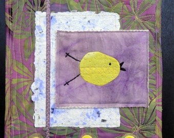 Yellow Bird Art Collage | Quilted Art Wall Hanging
