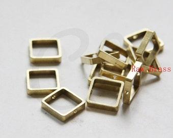 10pcs Raw Brass Round Frame - Square 12mm (3288C-N-345)