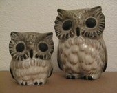 HOWARD PIERCE Mid Century California Pottery---Mother and Baby Owl Pair