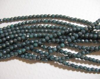 4mm Fire Polish Czech Glass Beads - Turquoise Moon Dust- 50 beads
