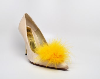 Detachable Feather Puff Pom Pom Shoe Clips  Set of Two Yellow
