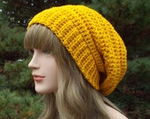 Golden Yellow Slouchy Crochet Hat, Womens Slouch Beanie, Oversized Slouchy Beanie, Chunky Hat, Slouchy Hat, Winter Hat, Slouch Hat