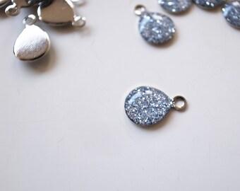 35 pcs silver glitters resin charm on steel silver tone base7x10mm