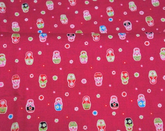 Tiny matryoshka print light weight fabric half meter 50 cm by 106 cm or 19.6 by 42 inches  nc43