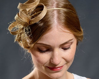 Golden modern fascinator with golden veil and golden rhinestones- New for A/W 2016 season