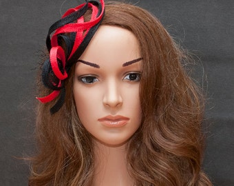 Red and black fascinator hat for your special occasions- New design, new style !