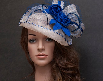 Light grey and cobalt blue fascinator hat for your special occasions-Last hat on SALE - 30%