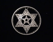 MOROCCO - 1953 - cut coin jewelry -  Pentangle within the Star of David