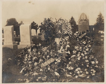 Original Vintage Photograph Snapshot Flower Sprays & Flag on Grave in Cemetery by Headstones 1910s