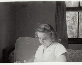 Original Vintage Photograph Woman Sitting Looking Down 1940s