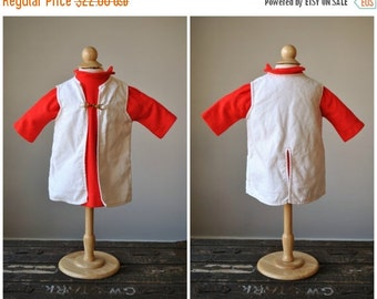 ON SALE 1960s Red Crest Knit Dress & Jacket~Size 12 Months
