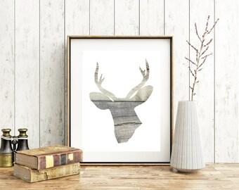 Instant Download Rustic Deer Print Your Own Artwork Deer Head Wood Inlay Deer Head