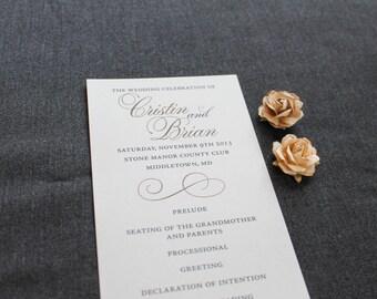 Vintage Wedding Program - Black and Champagne Gold Wedding Program - Traditional, Classic, Formal - Custom - Cristin and Brian