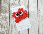 Red Crab Felt Hair Clip - Felt Hair Bows - Ocean and Beach Inspired Clippies Hairbows - Cute Summer Hair Accessory with Non Slip Grip Clip