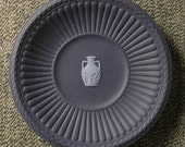 WEDGWOOD JASPERWARE Silver  Sweet meat dish black on primrose  approx  4 in diam England