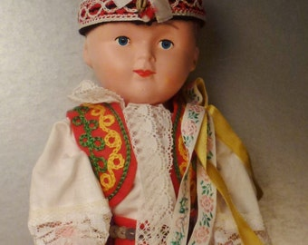 DOLL POLAND Papier Mache  Handcrafted beautiful Boy Folk embroidered costume app 12 x4 x3 inches mint condition 1940s