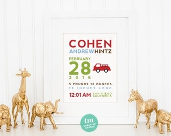 8x10 Custom Birth Announcement Print - FIRETRUCK Wall Art