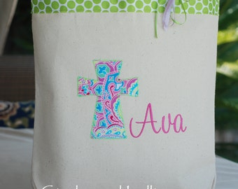 Fun colors personalized church mass tote bag flower girl baptism gift pink chevron