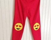 Emoji Leggings Heart Eyes Emoji Leggings Valentines Day Emoji Tights Emoji Leggings Emoticon Leggings Heart Face Tights Girls Leggings