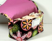 Coupon Organizer Holder  Mega Large Carnvial Bloom Fabric with Rose Lining