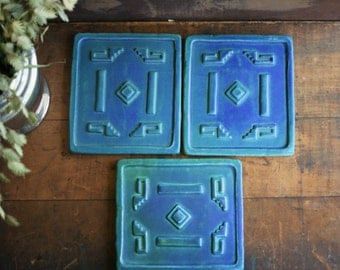 Vintage Art Tiles Matte Blue and Green Raised Southwest Adobe Style Design Wall Hanging Studio Art Pottery