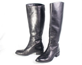 VTG 90's Black Leather Riding Boots size 6 Womens Equestrian Knee High Flats Zip Up Classic Country Tall Boots