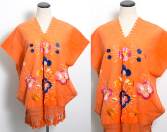 VTG 70's Orange Floral Embroidered Poncho (All Sizes) Embroidery Hippie Boho Oaxacan Ethnic Fringe Canvas Flowers