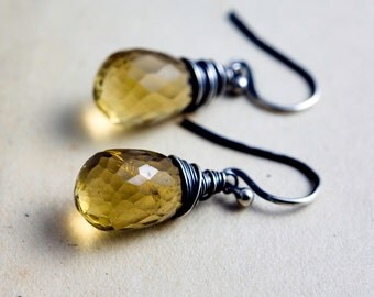 Citrine Earrings, Drop Earrings, Dangle Earrings, November Birthstone, Golden Quartz, Sterling Silver, Wire Wrapped, PoleStar, Yellow