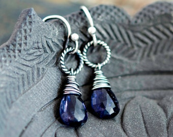Iolite Earrings, Drop Earrings, Drop Earrings, Sterling Silver, Blue Gemstone, Silver Earrings, PoleStar, Indigo, Crystal Earrings