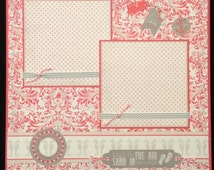 Beach Themed Premade Single Scrapook Layout Album Page, 12x12 Layout, Sea, Sand, Seahourses, Flip Flops, Coral Damask, Summer Vacation Page