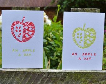 handprinted apple message linocut card