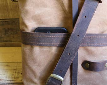 Waxed Canvas Small Rucksack Roller Tote Messenger