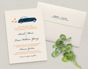 Vintage Car Wedding Invitation