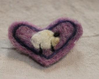 Heart Needle Felted Heart Pin #1363