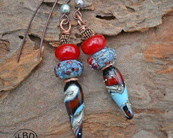 Southwestern Spike Lampwork Earrings