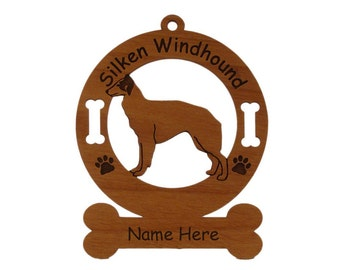 3982 Silken Windhound Standing Personalized Dog Ornament - Free Shipping