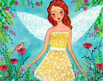 Nursery Art Print, Fairy Art Print, Cute Fairy Painting, Child's Room Decor, Large Art Print for Girls Bedroom, Wall Art for Children Decor