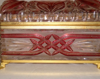 Larger Hinged Crystal with Cranberry Casket ~ French  Palais Royale Style   SPRING SALE