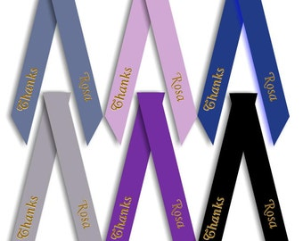 """FREEBIE - Buy 75 Tie Ons & Receive 25 Tie Ons FREE ! -  3/8"""" w x 12"""" length - Personalized Ribbon Ties - Foil Print - With Your Message"""