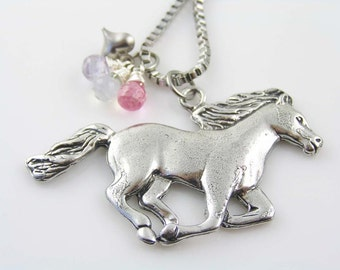 Horse Necklace, Pink Bead Horse Necklace, CZ and Heart Charm Necklace with Horse Pendant, Horse Jewelry, Gift Idea for Horse People