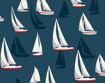 Sea View TP 1636-1 Sail Boats on blue Cotton Fabric Andover/Makower- 1/2 yd cut