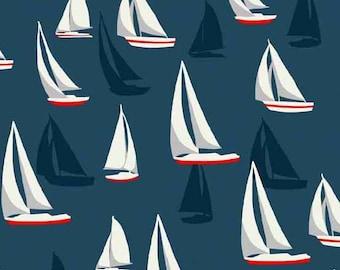 Cotton Fabric, Nautical Fabric, Beach Fabric, Sea View TP 1636-1 Sail Boats on blue Cotton Fabric Andover/Makower- 1/2 yd cut