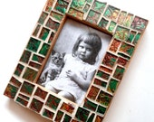 Green Copper Mosaic Frame, Small Mosaic Picture Frame,  Mosaic Frame, Handcut Emerald Green Copper Van Gogh Glass Picture Frame