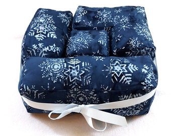 MOVING SALE Navy and White Snowflake Batik Puzzle Pillows 3D Cube Stuffed Toy Set of 4