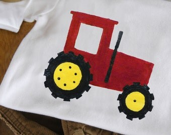 Farm Tractor Short Sleeve One-Piece Bodysuit or T-Shirt